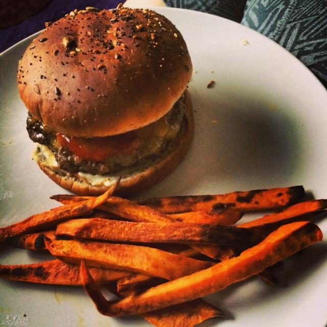sweet potato fries and burger