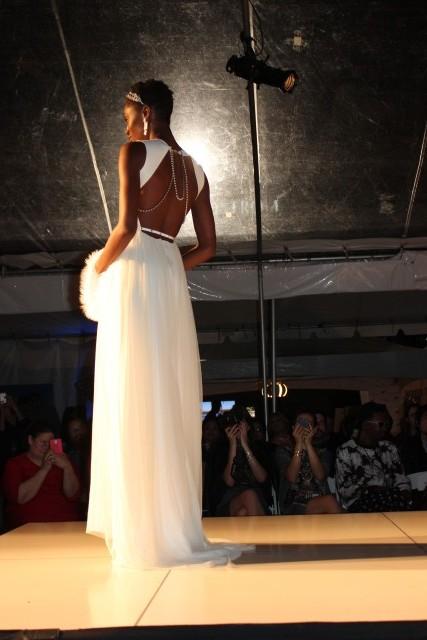 portland fashion show dress back pearls