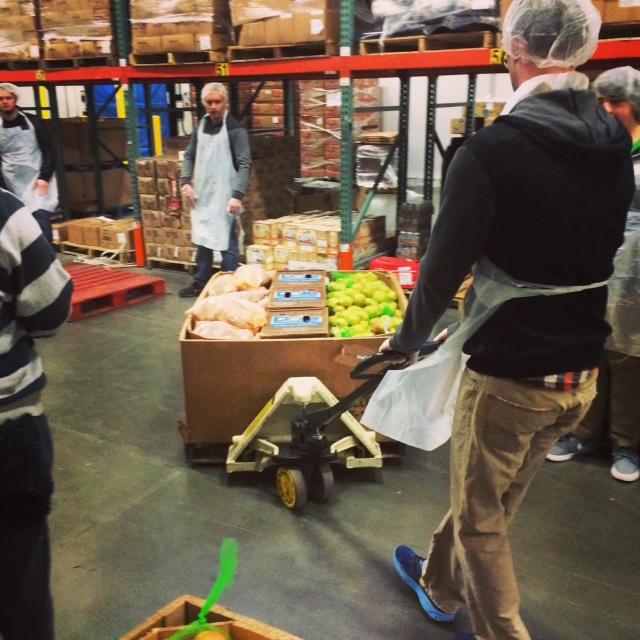 oregon food bank pushing cart